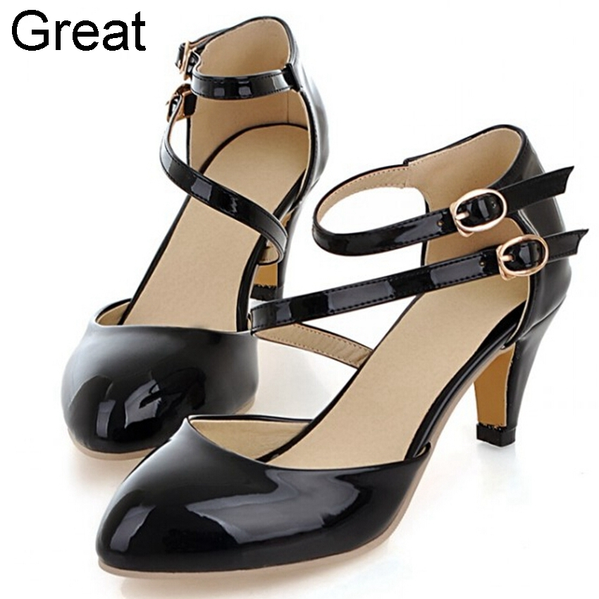 2015 New Arrival Big Size 34 43 Black Beige Buckle Fashion Mid