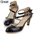 2015 Recién Llegado de Tamaño Grande 34-43 Negro Beige Hebilla de Moda A Mediados de Tacón Zapatos de Las Mujeres Niñas Bombas D914