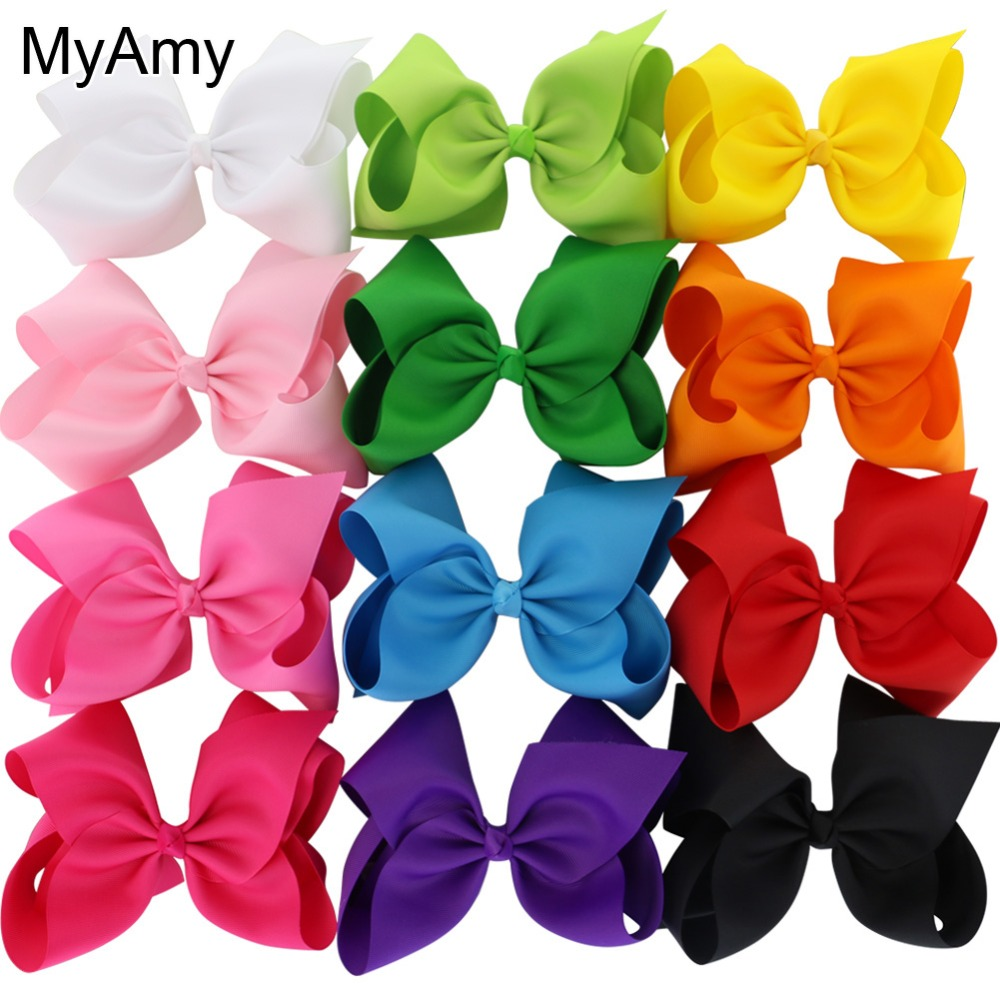 MyAmy 12pcs/lot large 8'' grosgrain ribbon boutique hair bows WITH alligator hair clips big bow girls hairbow for teens kids 10pcs lot high quality hair band with grosgrain ribbon flower for girls handmade flower hairbow hairband kids hair accessories
