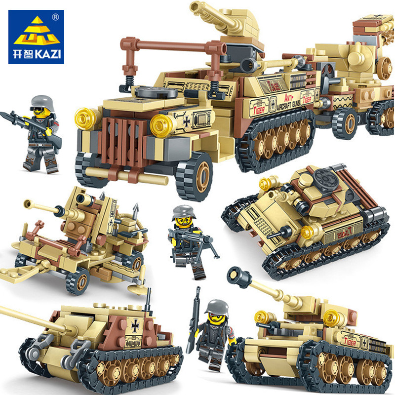 2018 NEW LegoINGs Military World War 2 Tank Building Blocks Sets Miniature Gun Weapon Creator 4IN1 Army WW2 Soldiers Bricks Toys [yamala]military firewire blocks soldier war weapon bricks building blocks sets classic airman toys for children diy heavy gun