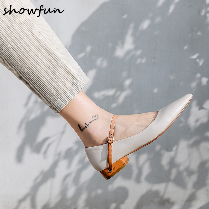 Women s genuine leather ankle strap flats mary jane flats brand designer pointed toe leisure spring