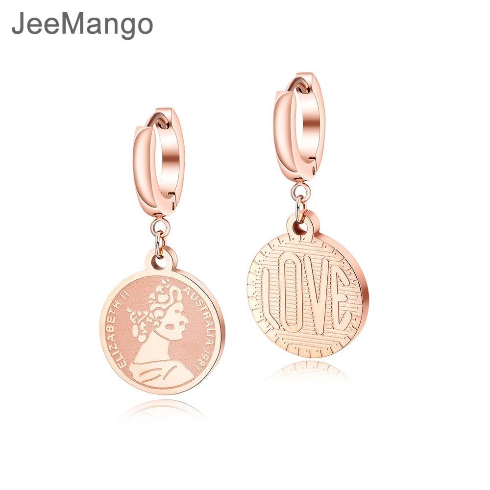 JeeMango Stainless Steel Rose Gold Earrings For Women Retro Creative Queen Elizabeth Coin Hoop Earrings For Best Gifts OGE501 gold earrings for women