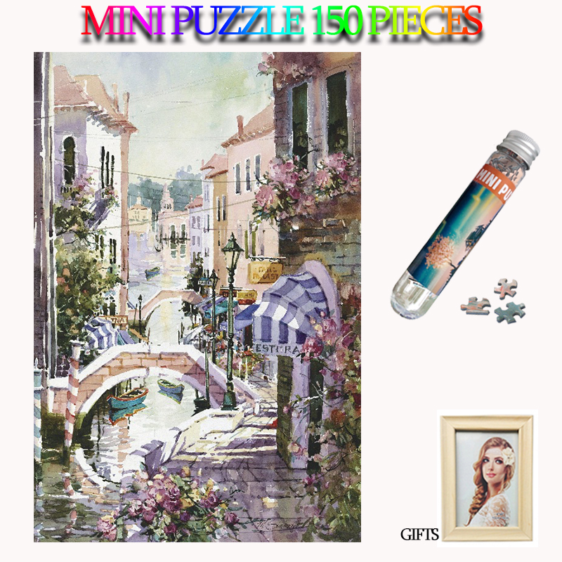 MOMEMO Water Town Jigsaw Puzzles Mini Paper 150 Pieces Adults Tube Puzzle Brain Teaser Assemble Toys for Kids Teens Gift