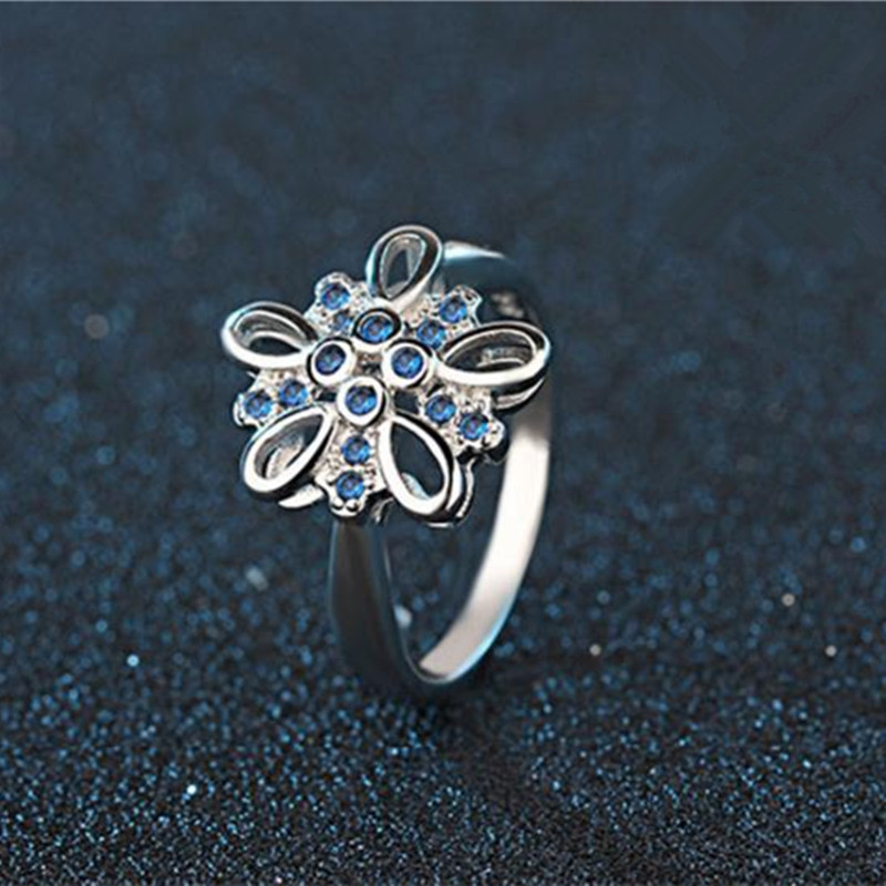 TJP Hot Charm Blue Crystal Stones Female Finger Rings Jewelry Top Quality 925 Silver Rings For Women Lady Engagement Party Bijou