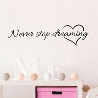 Never Stop Dreaming Inspiration Quote Words Love Heart Home Bedroom Decor Wall Sticker Friend Student Gifts