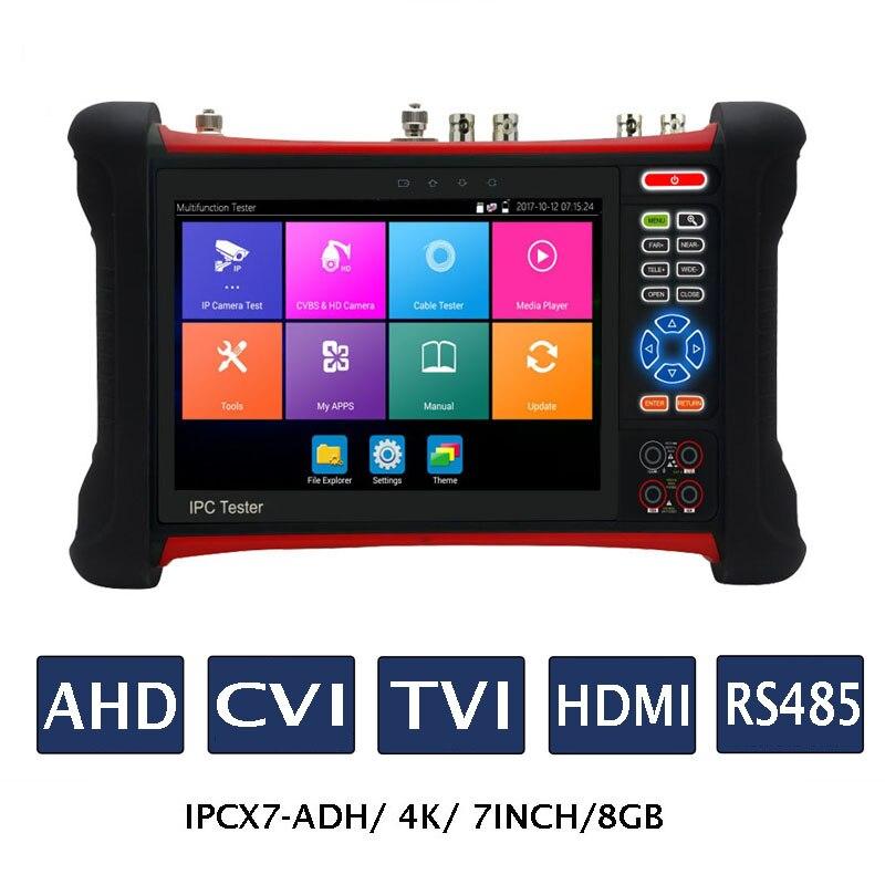 7 pouces H.265 4 K IP caméra testeur 8MP TVI CVI AHD HDMI CCTV caméra testeur moniteur avec TDR, traceur de câble, 8 GB SD
