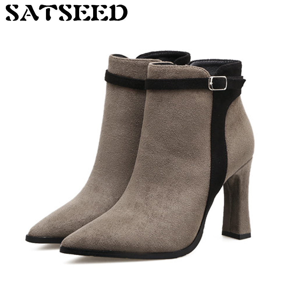 Women Winter Boots New Naked Boots Pointed High-heeled Shoes Short Boots Women's Ankle Shoes Martin Boots Mixed Colors Fashion 2017 new anti slip women winter martin