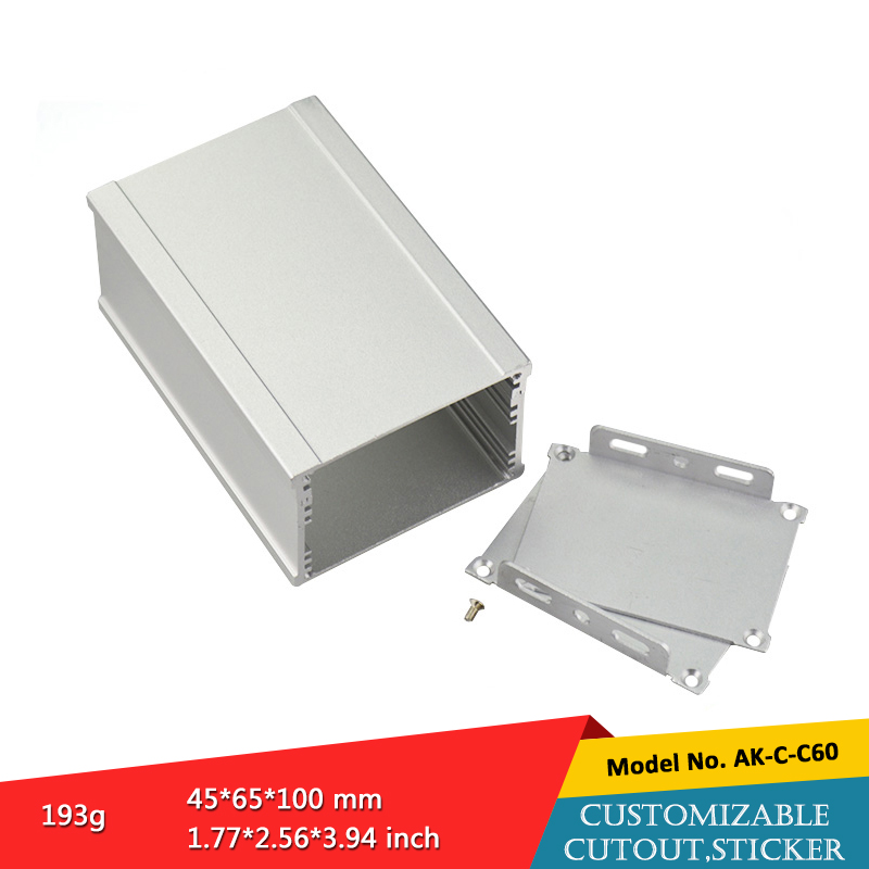 one piece metal small aluminum extruder enclosures screen case custom project boxes 45*65*100mm 1 piece free shipping small aluminium project box enclosures for electronics case housing 12 2x63mm