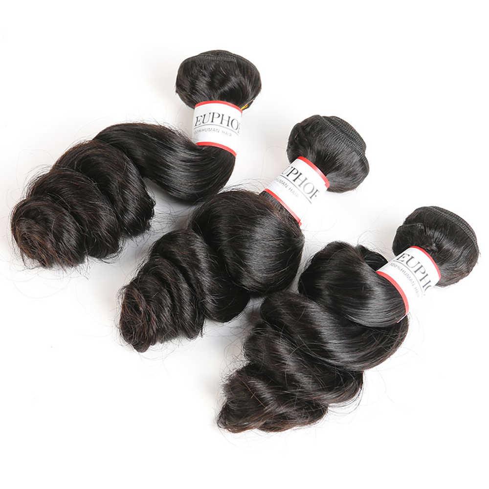 Перуанское неплотное переплетение человеческих волос пучок s Euphoria натуральный цвет салон пучок волос Ткачество 1/3 пучок s Remy пряди волос на сетке
