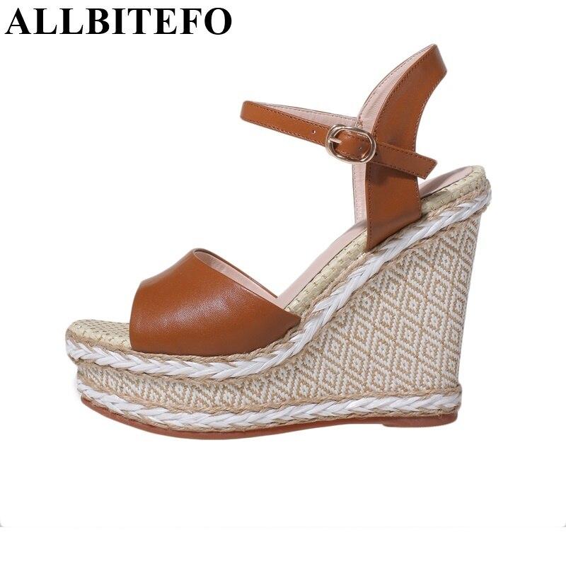 ФОТО ALLBITEFO Fashion super high heels buckle genuine leather Ankle Strap women sandals wedges platform sandals beach sandals