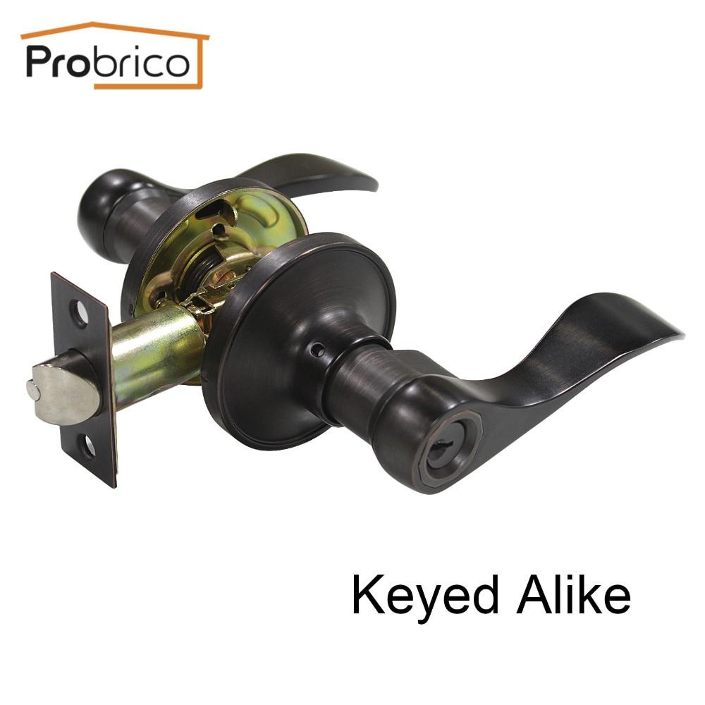 Probrico Keyed Alike Door Lock Stainless Steel Entrance Lock Security Wave Style Door Handle Knob Oil Rubbed Bronze DL12061ORBET цена