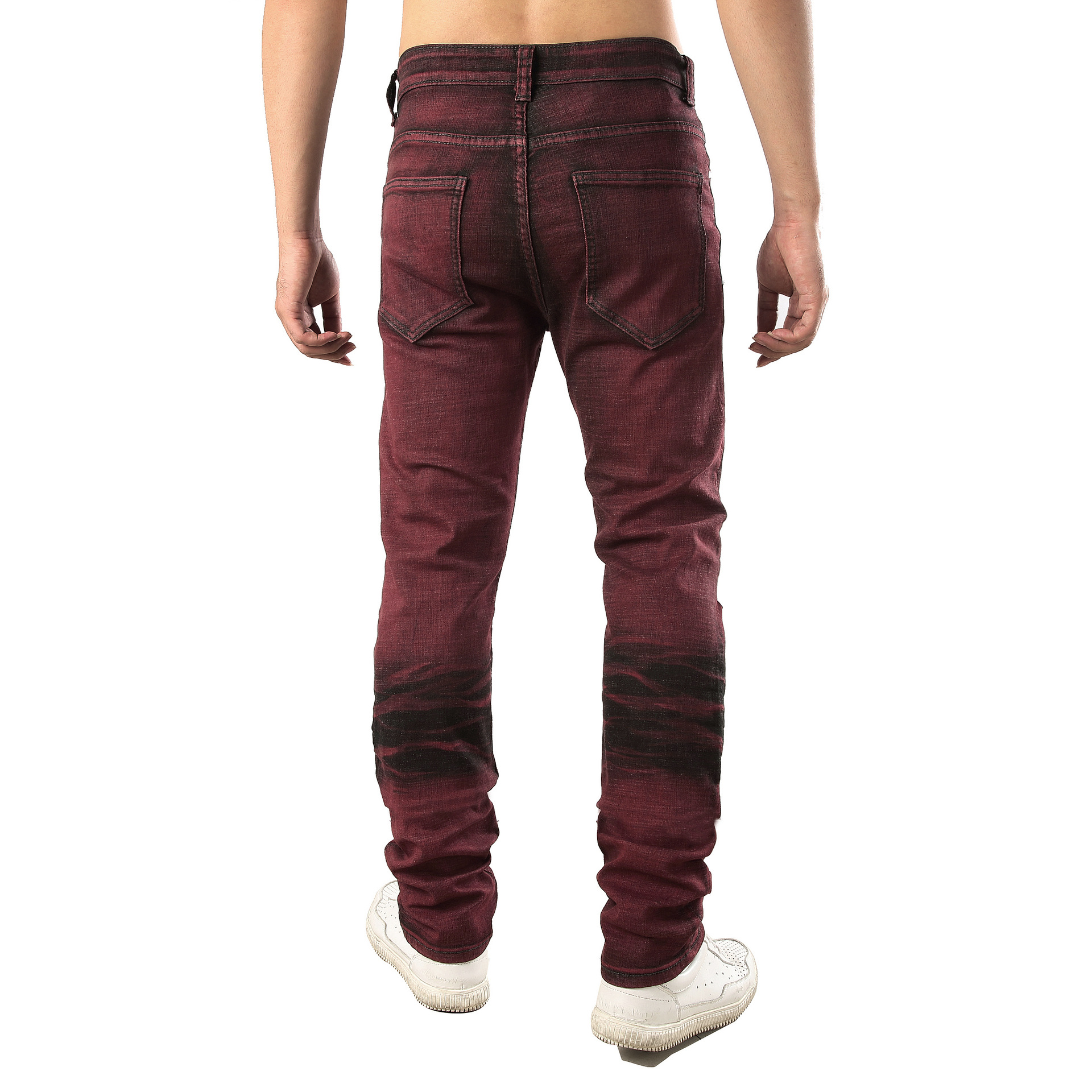 f5d584776f8 Men Plus Size Men s Jeans Fashion Brown Red Distressed Jeans Slim Stretch  Hip Hop Ripped Jeans Men Streetwear Pants 42