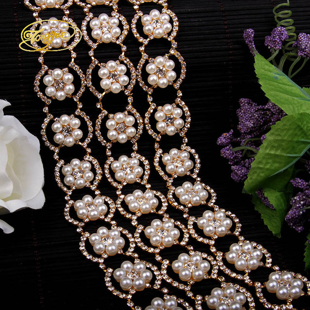 1 Yd Pearl Rhinestone Alloy Wedding Clothing Adornment Ornament Pruning DIY  Sewing Applique Adornment Pearl Crafts bdbbc6852