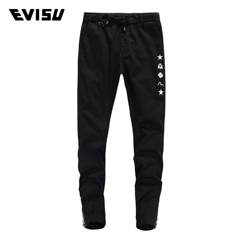 Evisu 2018 Spring Summer Men's Casual Trousers Fashion Small M Print Long Pants Men Black Cotton Slim Pencil Pants 1560B