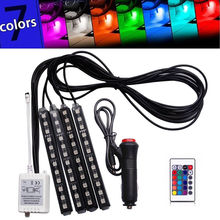 4x 12V ABS Plastic RGB 12LED Car Interior Atmosphere Neon Light Strip Wireless Remote Control Atmosphere Strip Light 7 Colors 4pcs wireless remote control interior floor foot decoration light 12led car interior atmosphere rgb neon decorative lamp