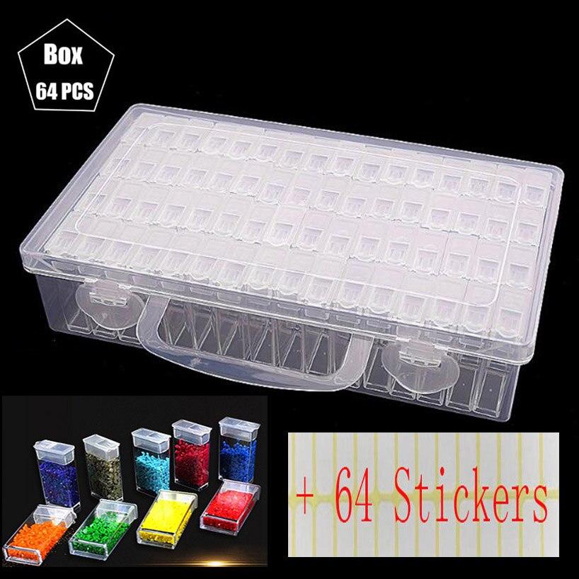 New Plastic Diamond Painting Accessories 64pcs Bottles Container Storage Box Diamant Painting Holder Daimond Painting Box