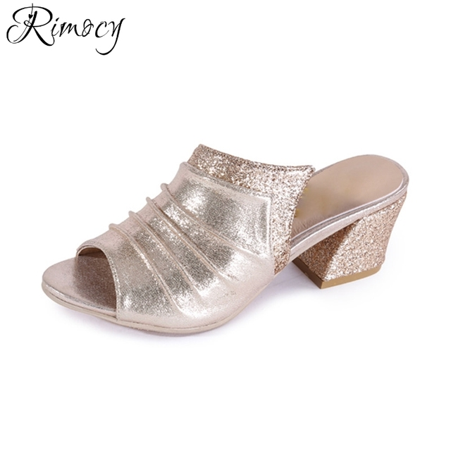 49db2d2ca6333 Rimocy elegant gold silver glitter high heels women slides sexy bing thick heel  sandals pumps fashion