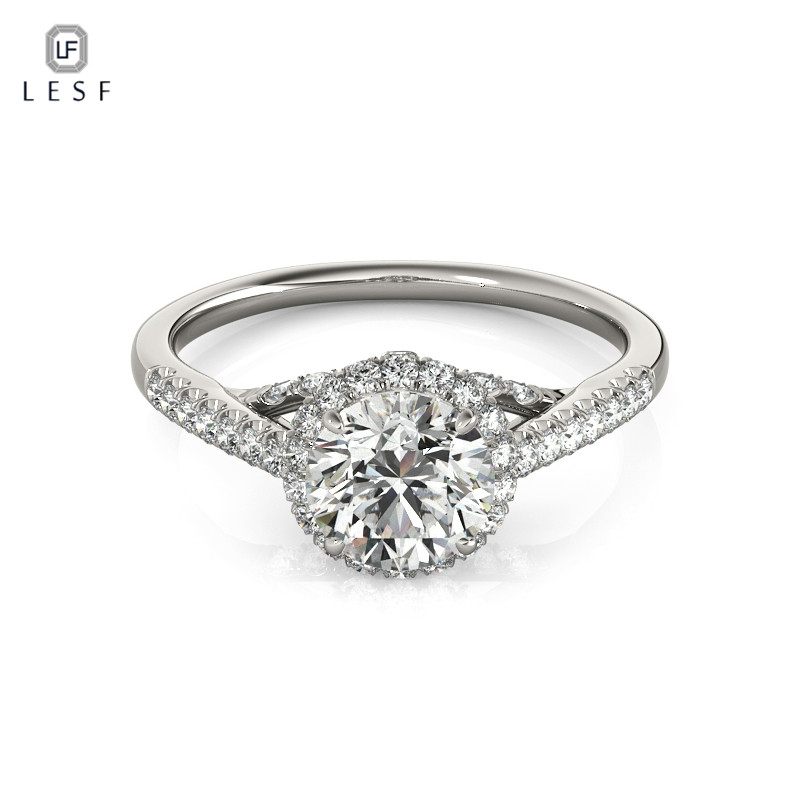 LESF Trendy Real 925 Sterling Silver Wedding 1 Carat SONA CZ Diamant Engagement Rings For Women Fine Jewelry Ring Silver big promotion 100% original 925 silver wedding rings for women natural solitaire 6mm cz diamant engagement rings jewelry rj003