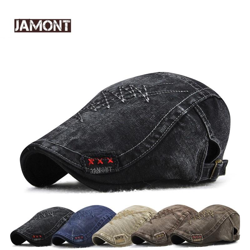 JAMONT 2018 Brand Fashion Visor Cap Men Hat Beret Spring Autumn Gorras Twill Berets Hat Snapback Bone Male Flat Hats Casquette