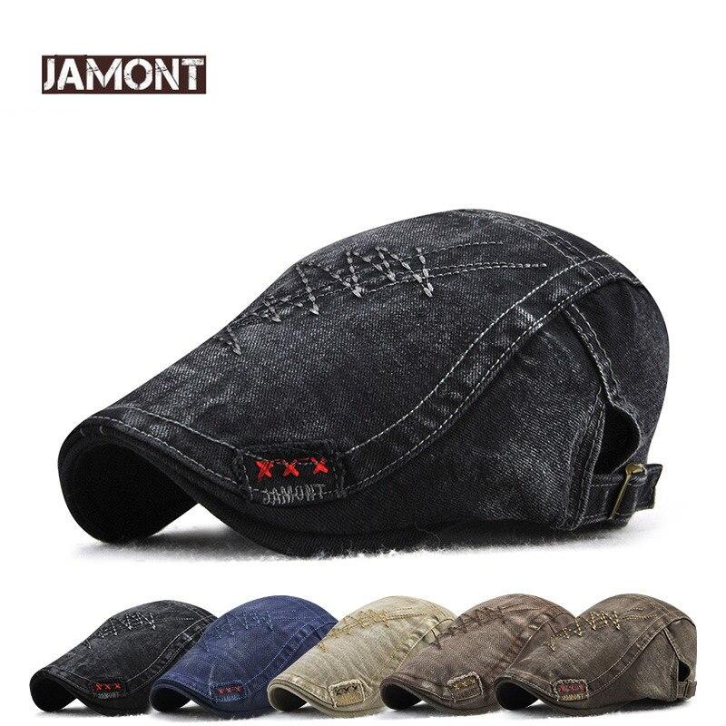 b17a32196e79 JAMONT 2018 marca gorra de visera de moda sombrero de hombre boina  primavera otoño Gorras sarga boinas sombrero snapback hueso masculino  sombreros ...