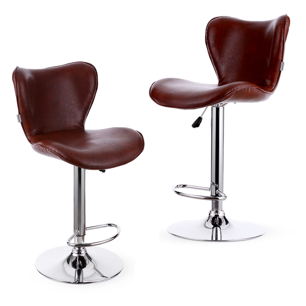 IKayaa US Stock PU Leather Swivel Bar Stool Chair Height Adjustable  Pneumatic Counter Pub Chair Barstools 2PCS/Set Of 2 In Bar Chairs From  Furniture On ...