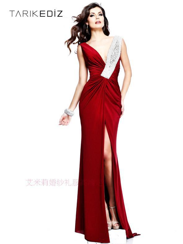 Free Shipping Robe De Soiree Cheap 2019 New Fashion Sexy Red Long Crystal V-neck Vestido De Festa Party Gown Bridesmaid Dresses