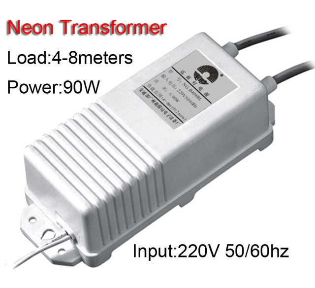 8 Metrów 90 W Neon Znak Wyjście Wejście Zasilania Transformatora Neon Prostownik 220 V 30mA 8KV Darmowa wysyłka