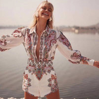 2019 Summer 2 Piece Sets Womens Outfits High Quality New Arrival Women Blouse and Flower Shorts Slim 2 Pieces Shirt and Shorts