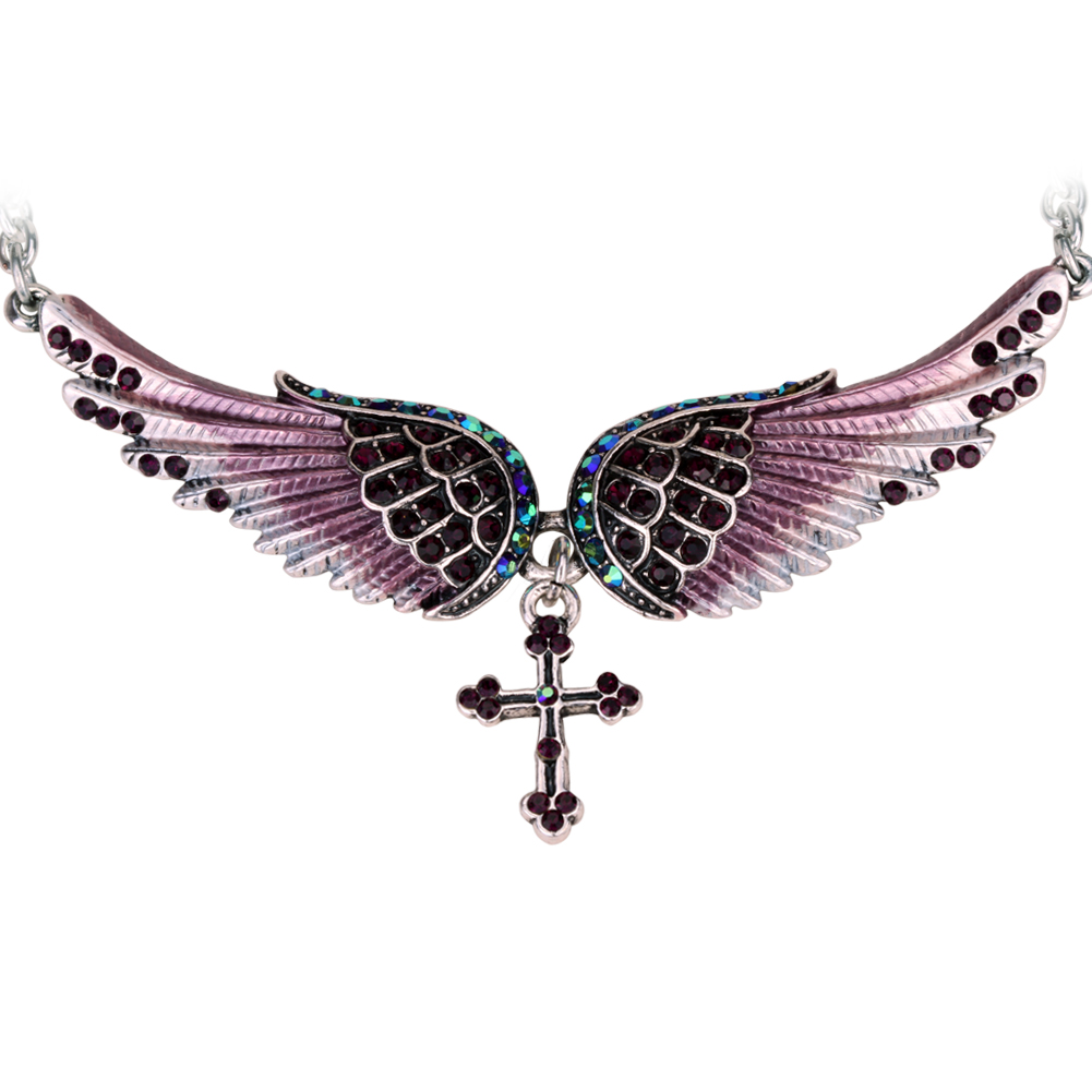 Angel wing cross necklace women biker jewelry gifts W/ crysts