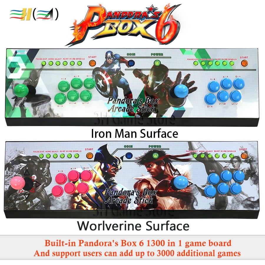 Pandora Boîte 6 1300 dans 1 arcade console peut ajouter 3000 jeux 2 joueurs led bouton usb joystick pour pc ps3 amusements jeu machines