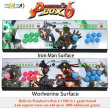 Pandora Box 6 1300 в 1 Аркады консоли может добавить 3000 игр 2 игроков led кнопка usb джойстик для ПК ps3 забавы игровые автоматы