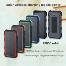 25000mAh Portable QI Wireless Solar Charger For iPhone Samsung Huawei Type C Fast Charging USB Powerbank External Battery Pack
