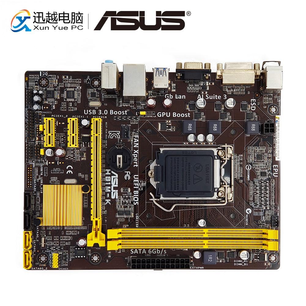 Asus H81M-K Desktop Motherboard H81 Socket LGA 1150 i7 i5 i3 DDR3 16G SATA3 UBS3.0 Micro-ATX все цены