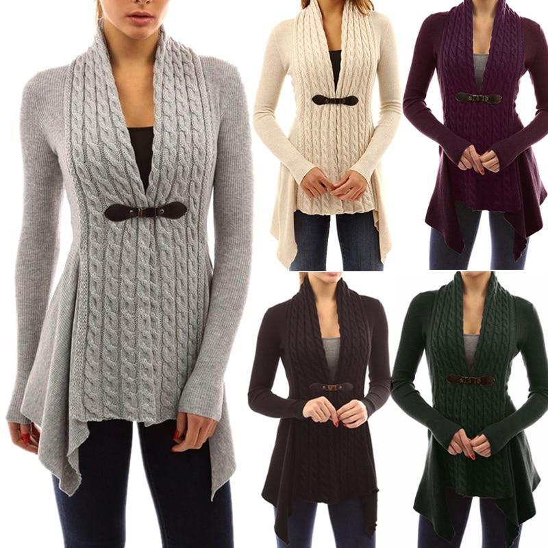 HOT 1 Pcs Mulheres Lady Cardigan Sweater V Neck Manga Comprida Cor Sólida Moda Roupas 19ING