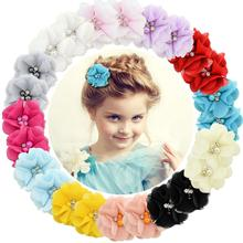1 шт. Детские однотонные шифоновые заколки для волос с цветами, мини-заколки для волос для новорожденных, аксессуары для волос, детские заколки для волос, заколки для девочек, 829