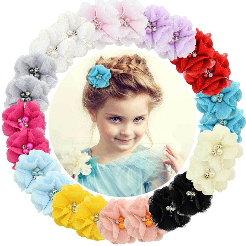 1 Pcs Baby hair solid Chiffon Flower clips Newborn baby Mini Hair Clips Hair Accessories Kids Hair Barrettes girls clips 829(China)