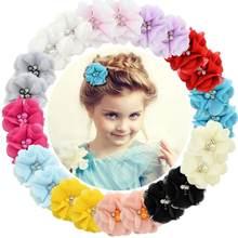 1 sztuk dziecko włosy stałe szyfonowy kwiat klipy noworodka mini włosy spinki akcesoria do włosów dzieci klamry do włosów dziewczyny klipy 829