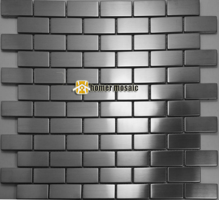 Strip Pattern Stainless Steel Mosaic Tiles Mesh Mounted For Bathroom