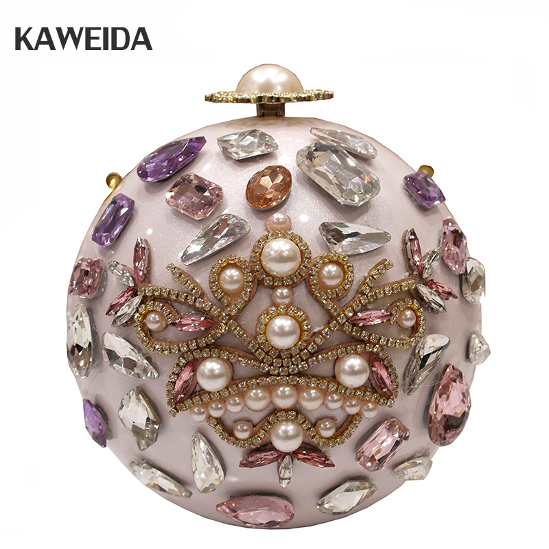 все цены на NEW Pearl Ball-shaped Women Small Bag Luxury Round Handmade Flower Evening Bag Wedding Party Wrist Clutch Diamonds Purse Handbag