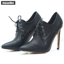 jialuowei patent leather 12cm high heels Sexy women pumps thin heels Classics Lace-Up Pointed Toe woman Party Wedding shoes цена
