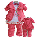 baby girls boy clothing set 3pcs red clothes sets for toddler girls pant suits formal for winter girl full Korean clothing store