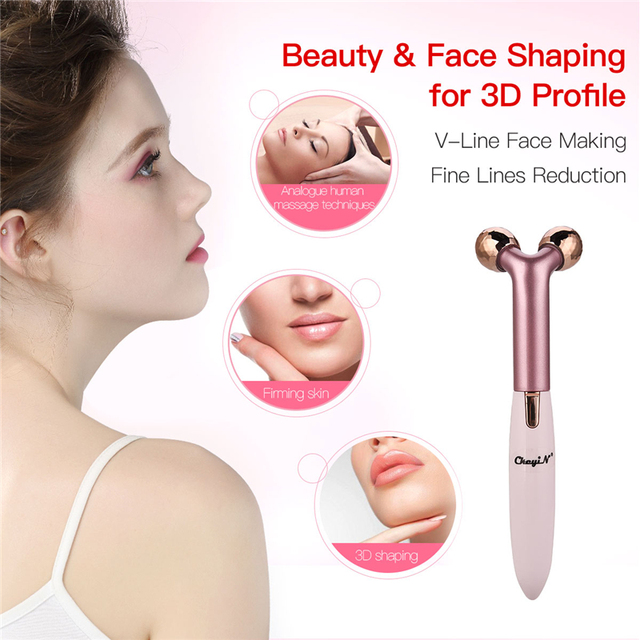 2 in 1 3D Facial Lift Roller V-line Face Shaping Slimming Massage Tool Double-Layered Heater Electric Eyelash Curler P46 2
