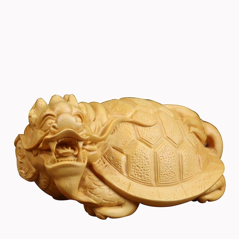 Figurines en bois massif de tortue d'argent statues de Dragon chanceux pour la décoration découpant des ornements en bois de feng shui