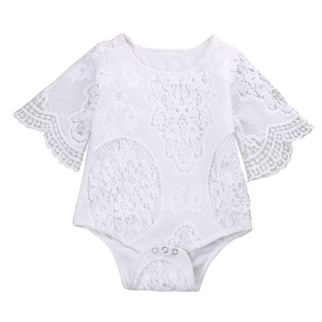 cb1b5675cc68 Cute Baby Girls White Lace Ruffles Sleeve Romper Infant Lace Jumpsuit  Clothes Sunsuit Outfits