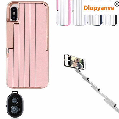 huge discount af239 63ba8 US $12.99 |Luxury Bluetooth Remote Selfie Phone Case Cover Selfie Stick  Cases For Iphone X with Holder Stand-in Phone Bumper from Cellphones & ...