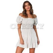 CUERLY Boho Women Summer Dresses vantige Short Lante Sleeve Decorative Dress retro Vestidos Bohemia Slash neck Ruffles dresses