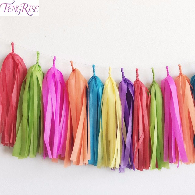 FENGRISE 14 Inch Tissue Paper Tassel Garland Wedding Decoration Baby Shower Birthday Party Kids Favor Home Decoration Supplies