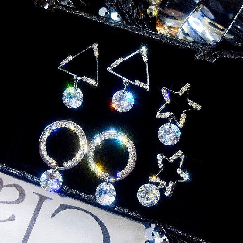 JUNXIN Girls Triangle Round Star Drop Earrings For Women White Gold White Crystal Short Dangle Earrings Female CZ Korean Jewelry