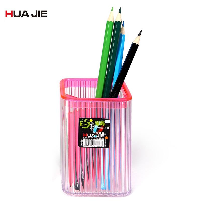 Efficient Transparent Creative Pen Holder Fashion Cute Pen Pencil Pot Holder Container Storage Box Desk Organizer School Supplies H059d Desk Accessories & Organizer