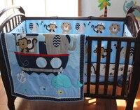 8 pieces Crib Infant Room Kids Baby Bedroom Set Nursery Bedding Sailor Blue Cot bedding set for newborn baby boy bedding set for newborns cot bedding set baby bedroom set -